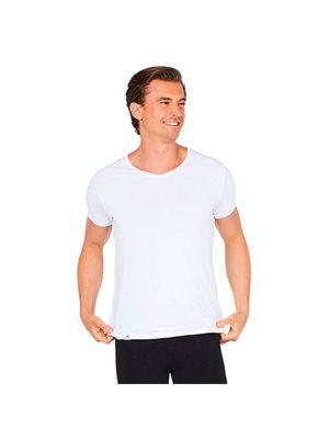 T-Shirt Herre V-hals hvid str. XL