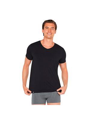 T-shirt Herrer V-hals sort  str. L