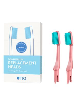 Tandbørstehoveder lyserød  medium 2 stk TIO