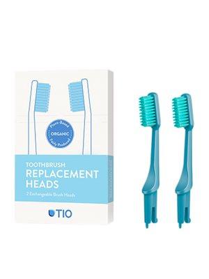 Tandbørstehoveder medium blå 2 stk TIO