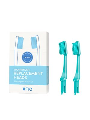 Tandbørstehoveder medium grøn  2 stk TIO