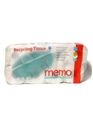 Toiletpapir memo (8 ruller) Genbrugspapir, miljømrk. Der blau Engel
