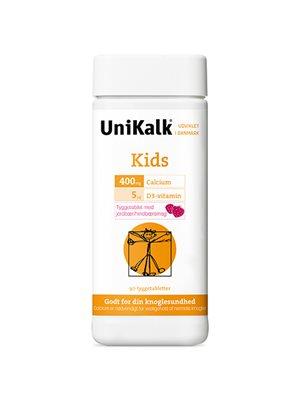 UniKalk Kids tyggetablet  jordbær, hindbær Sødet med sorbitol