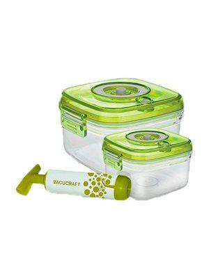 Vakuumbeholder til madvare 2 i et sæt 0,6L/1,3L incl pumpe