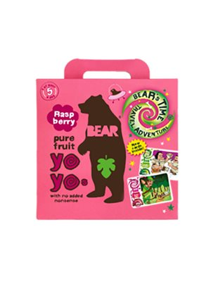 Yoyo multipak hindbær Bear pure fruit 5x20gr